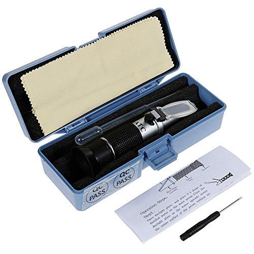 Anpro Refraktometer Handrefraktometer Temperaturkompensation ATC + Pipette, Minischraubenzieher und Reinigungstuch Messung für Frostschutzmittel Scheibenwasser Batteriesäure Blau, MEHRWEG