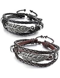 9ecdb81a9aeb MunkiMix Alliage Cuir Bracelet Bracelet Menotte Ton d argent Noir Brun Ange  Aile Plume Réglable