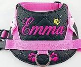 Hundegeschirr S M L XL XXL mit Wunsch Namen bestickt Kunstleder schwarz rosa