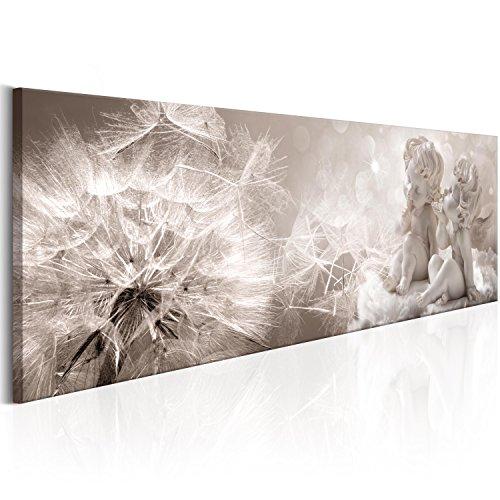 Murando - quadro pustemblume 135x45 cm - quadro su fliselina - stampa in qualita fotografica - 1 parte - fiori angelo natura grigio beige b-a-0348-b-a
