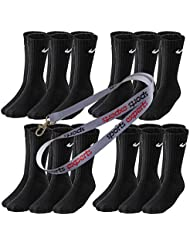 12 Paar NIKE Socken in Größen 34-38 bis 46-50 schwarz & weiß
