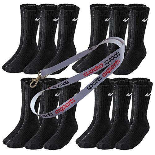 12 Paar NIKE Socken in Größen 34-38 bis 46-50 schwarz & weiß (Schwarz, 42-46 (L))