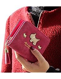 Hot Pink : Kolylong Women Cute Dog Tassel Decor Short Purse Grind Arenaceous Leather Wallet Card Holder (Hot Pink)