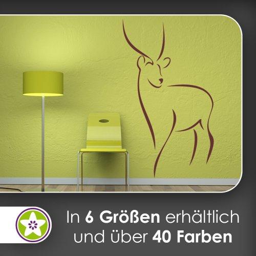 Antilope Linien Wandtattoo in 6 Größen - Wandaufkleber Wall Sticker (Antilope-größe 6)