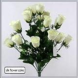 Mazzo da 18 boccioli di rosa artificiali, colore: avorio, ideale per matrimoni