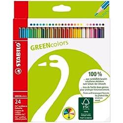 STABILO GREENcolors - Lápiz de color ecológico - Fabricado con madera certificada FSC - Estuche de 24 colores