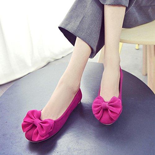 Transer® Damen Mokassins Blume Wohnungen Imitation Wildleder Blau Rot Grau Rosa Schwarz Einzelschuhe (Bitte achten Sie auf die Größentabelle. Bitte eine Nummer größer bestellen) Rot