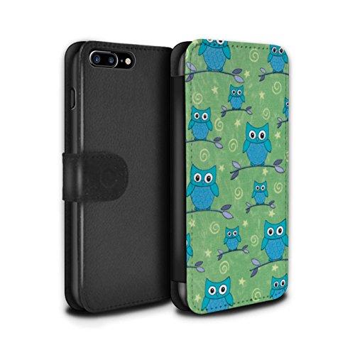 Stuff4 Coque/Etui/Housse Cuir PU Case/Cover pour Apple iPhone 8 Plus / Rouge/Blanc Design / Motif Hibou Collection Bleu/Vert