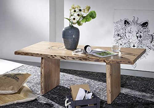 Table basse 120x60cm - Bois massif d'acacia laqué - Design naturel - LIVE EDGE #307