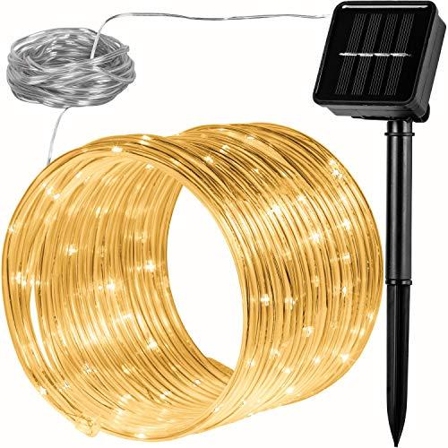 VOLTRONIC 100 LED Solar Batterie Lichterschlauch Lichterkette für innen und außen, erhältlich in: warmweiß/kaltweiß / bunt, IP44, 2 Leuchtmodi, Outdoor