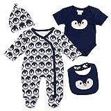PitterPatter Baby Set Jungen navy | Motiv: Pinguin | Baby Set mit Strampler für Neugeborene & Kleinkinder | Größe: 0-3 Monate (56/62)
