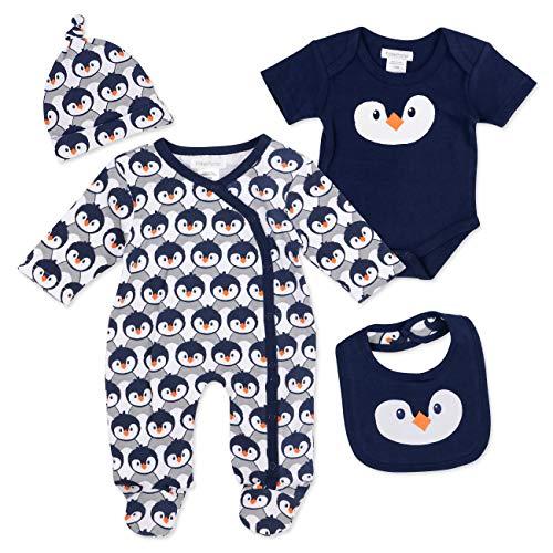 PitterPatter PitterPatter Baby Set Jungen navy | Motiv: Pinguin | Baby Set mit Strampler für Neugeborene & Kleinkinder | Größe: 0-3 Monate (56/62)