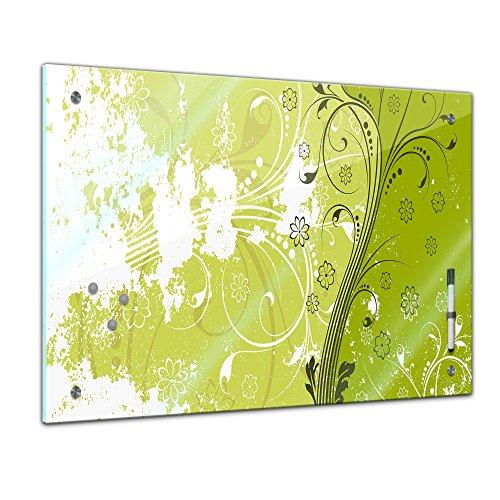 Bilderdepot24 Memoboard 60 x 40 cm, Interieur - Florales Muster I - Memotafel Pinnwand - Blume - grafisch - grün - Darstellung - Küche - Glasbild - Handmade
