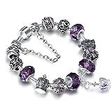 A TE® Armband Charms Lila Kristall Krone Anhänger Damen Geschenk #JW-B70