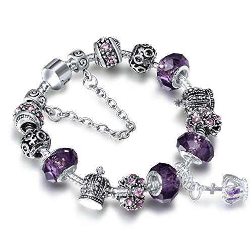 A TE® Bracelet Charms Femme «Rempli d'Amour» Verre Violet Cadeau #JW-B70