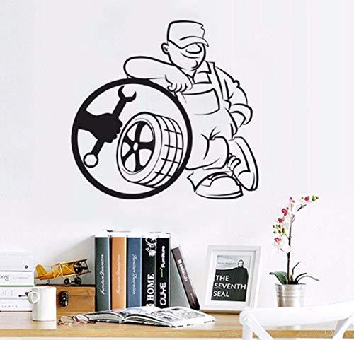 shiyusheng Servizio di Pneumatici Adesivo da Parete Adesivo da Parete Adesivo per Auto Servizio di Riparazione Auto Decorazione per Auto Poster da Parete in Vinile Design57x54cm