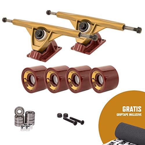 RAM UB-Truck - Set de ejes para longboard, 180 mm, incluye cinta de adherencia, gold/rot