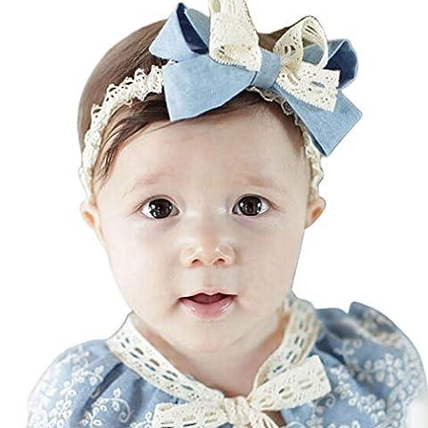 Kalorywee Sweet bébé fille Bleu ciel Tête Accessoires Bowknot Dentelle