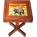 Apkamart Handcrafted Wooden Side Table Cum Stool - 15 Inch - For Living Room Decor And Gifts