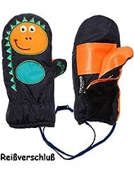"""Fausthandschuhe - mit Reißverschluß & langem Schaft - Größen: 9 Monate bis 4 Jahre - """" lustiger Dinosaurier - dunkel blau """" - LEICHT anzuziehen ! mit Daumen - Thermohandschuhe Fleece Futter - Kinderhandschuhe - Thermo gefüttert - Handschuh - wasserdicht + atmungsaktiv Thinsulate / Fausthandschuh Handschuhe - Kinder Jungen"""