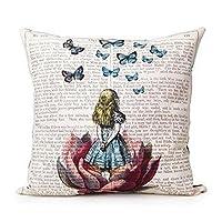 Oyedens Cotton Linen Home Decor Throw Sofa Car Cushion Cover Pillow Case Girl with Buttflies