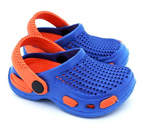 Fashion&Joy–Zoccoli da bambini con cinturino per il tallone e suola di gomma intagliata–sandali / ciabatte–protetti e ben ventilati in estate, Typ429, Gomma, Navy - Grün, EUR 27 Blau - Orange