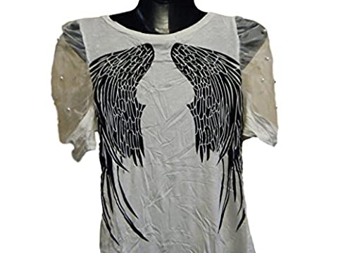 Biker Style Fashion White Ladies Top T-shirt with Angel wings on rear - By Fat-Catz-copy-catz