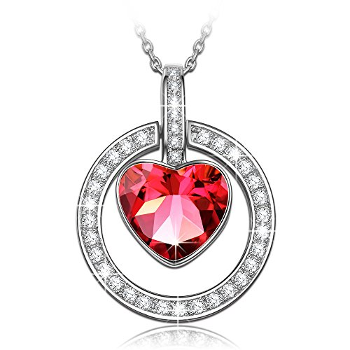- 51qgQRNz0oL - NINASUN Some Like It Hot 925 Sterling Silver Women Necklace Pendant Swarovski Crystals Ruby Heart Allergen-free Fine Jewellery Gemstone Accessories Chain Extender Hoop Poppy Siam