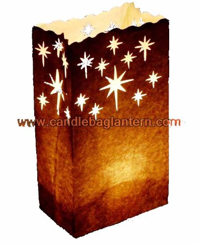 10 x papier noire étoiles bougie luminaire sac de papier lanternes