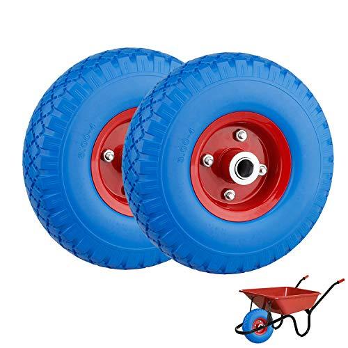 everfarel 2X PU ruota carriola ruota 260 mm Carretto pneumatici in gomma ruota di scorta 3.00-4 a prova di guasto