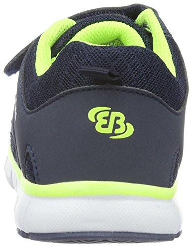 EB-Kids 591205, Baskets Basses Garçon Bleu (Marine/Lemon)