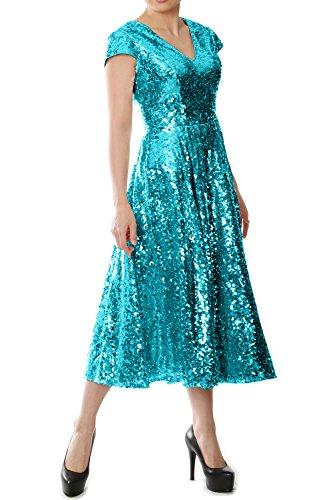 MACloth Women Cap Sleeve V Neck Sequin Tea Length Bridesmaid Dress Evening Gown (Custom Size, Teal) (V-neck Top Sleeve Cap)