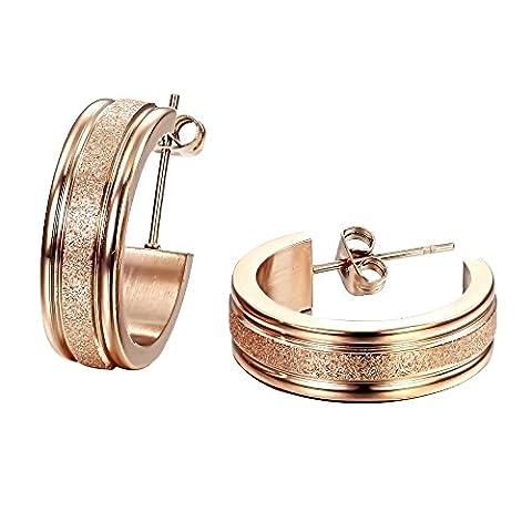 Fate Love Bijoux 1Paire de boucles d'oreille en acier inoxydable pour femme plaqué or rose boucles d'oreille Clous Dull polonais