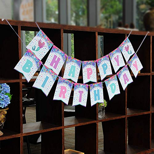 KUNGYO Meerjungfrau Geburtstag zum Mädchen - Meerjungfrauen Girlande Happy Birthday Banner (Geburtstag Banner Meerjungfrau Kleine)