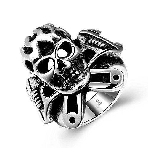 Highdas Anello Classical Moda Fine Pop Uomo Steel Skull, usato usato  Spedito ovunque in Italia