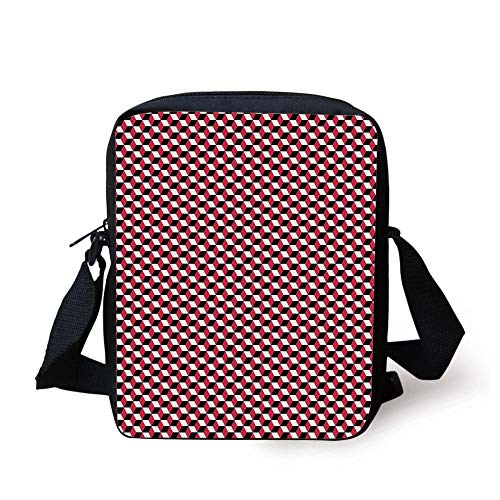 Abstract,Cubes Three Dimensional Style Optical Illusion Pattern Diagonal Shapes Decorative,Dark Coral Black White Print Kids Crossbody Messenger Bag Purse -