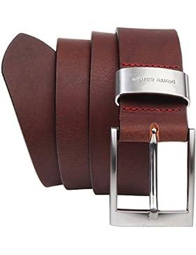 Pierre Cardin - Cinturón de hombre de auténtica piel de búfalo de 4mm, para pantalón vaquero, talla XXL, negro...