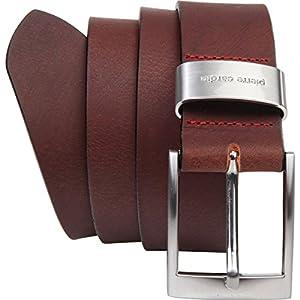 Pierre Cardin – Cinturón de hombre de auténtica piel de búfalo de 4mm, para pantalón vaquero, talla XXL, negro/marrón
