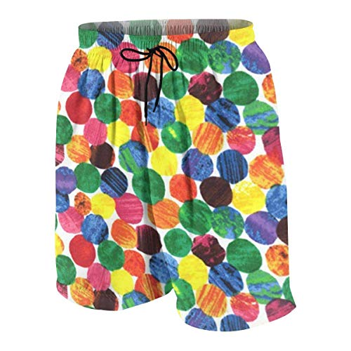 The Very Hungry Caterpillar Abstract Dots Boys Beach Shorts Quick Dry Beach Swim Trunks Kids Swimsuit Beach Shorts,Big Boy's Casual Shorts S -