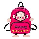 OdeJoy Kind Mädchen Junge Niedlich Affe Brief Drucken Schulranzen Kleinkind Schuletasche Karikatur Rucksack Schulranzen Mode Reißverschluss Backpack Cute Students Bags(Rosa,1 PC)