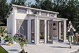 CARLSSON Gartenhaus Lausitz-40 ISO mit Anbau - Holzhaus mit Anbau - Gartenhütte mit Boden - Blockbohlenhaus - Gartenhäuschen Pultdach ohne Imprägnierung