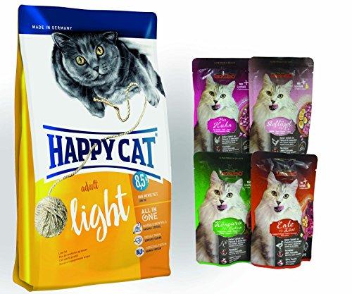 Happy Cat Adult Light 10 kg + 4 x 85 gr. Leonardo Nassfutter für Katzen im Frischebeutel Sortiert