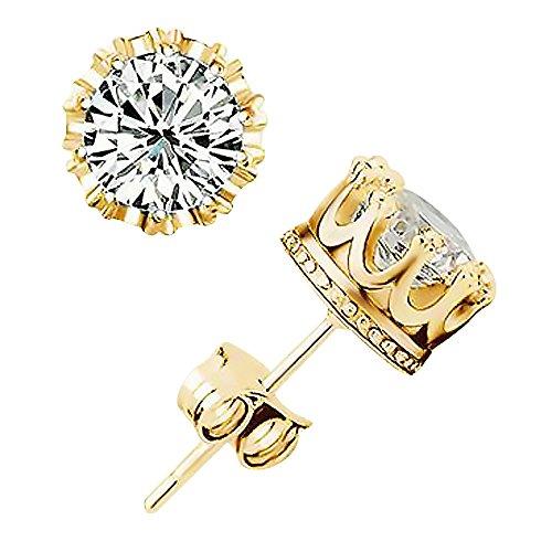 Ohrstecker Krone Zirkonia Damen Herren Ohrringe Kristall 925 Silber Plattiert Vintage Retro gold