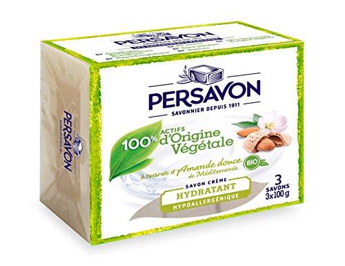 PERSAVON Savon Solide Amande Douce de Méditerranée Bio 100 g 3 Pièces - Lot de 3