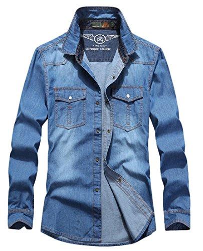 Insun Herren Freizeit-Hemd Gr. M, Blau - Blue 6873