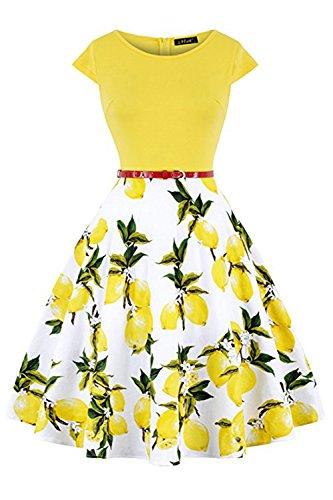 MisShow Damen Abschlussballkleid Rockabilly Retro Kleider Pin up Sommerkleider Zitrone Gelb M