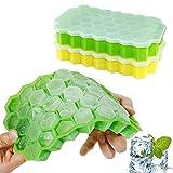 Trada Silikon Eiswürfelform, 2 Stücke Wabenform Eiswürfel 37 Würfel Eiswürfelschale Eiswürfelform Vorratsbehälter Eiswürfel Box Eiswürfelbehälter Trichter Eiswürfelschalen (Grün,Gelb)