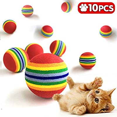 iNeith Cat Ball Toy Pet Kitten Dog Puppy Rainbow Colorful 3.5cm 1.38 Inch Foam EVA Soft Play Chase Chew Training Practice Pack of 10