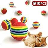 iNeith Katzenspielzeug 10 Stück Softbälle Regenbogen Schaumstoffbälle 3,5cm Durchmesser