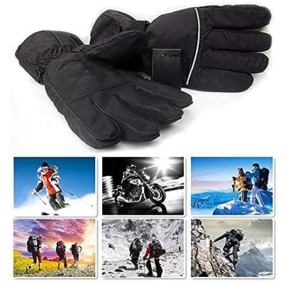 Sensecrol Batteriebetriebene wiederaufladbare Heizhandschuhe Elektrische Heizhandschuhe für Männer und Frauen Im Freien Warme Motorradfahren Ski Radfahren Handwärmer (ohne Batterie)